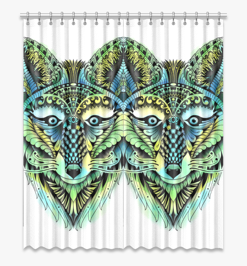 Water Color Ornate Foxy Wolf Head Ornate Drawing Window - Donkey, HD Png Download, Free Download