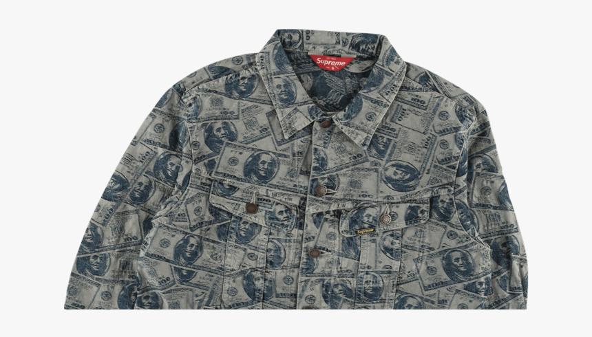 Supreme 100 Dollar Bill Trucker Jacket - Pocket, HD Png Download, Free Download