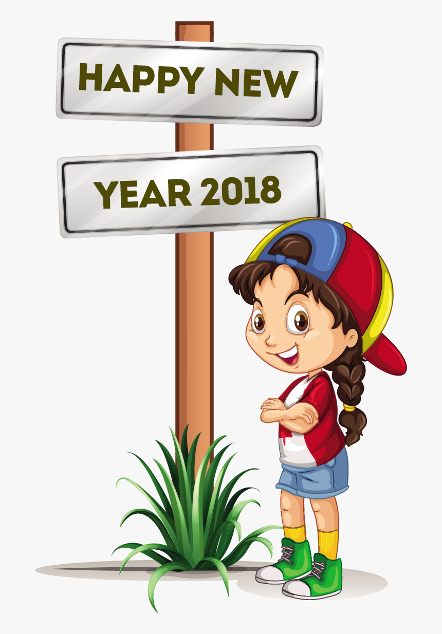 Happy New Year 8 Free Vector Download Coloring Point - Happy New Year 2018 Girl, HD Png Download, Free Download