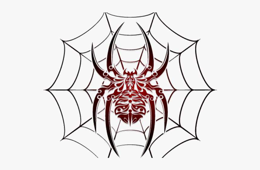 Spider Web Clipart Art Deco - Spider And Web Tattoo Designs, HD Png Download, Free Download