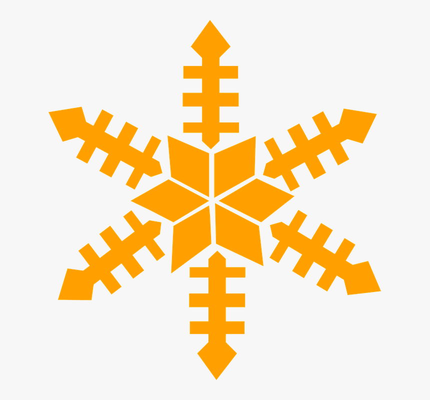 Snow Flake, Gold, Winter, Christmas - Orange Snowflake Clipart, HD Png Download, Free Download