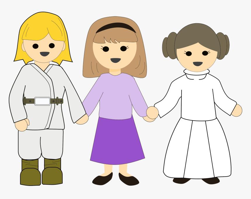 Star Wars Girls Clip Arts - Enfants Tenant La Main Png, Transparent Png, Free Download