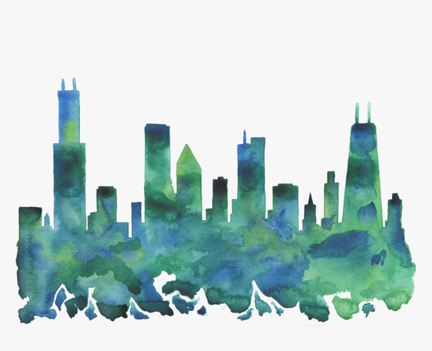 Chicago Skyline Blue Green Watercolor Print, HD Png Download, Free Download