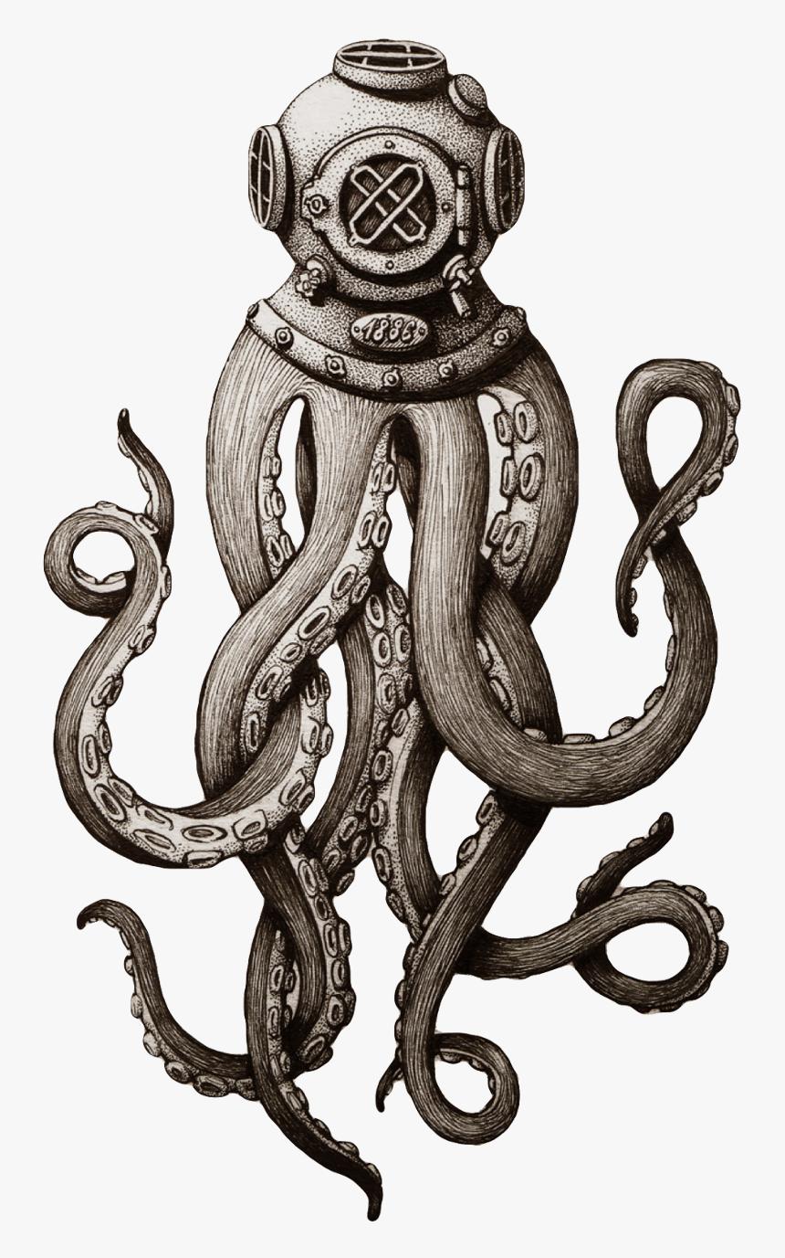 #octopus #tentacle #tentacles #scuba #scubadiver #sea - Octopus Tattoo, HD Png Download, Free Download