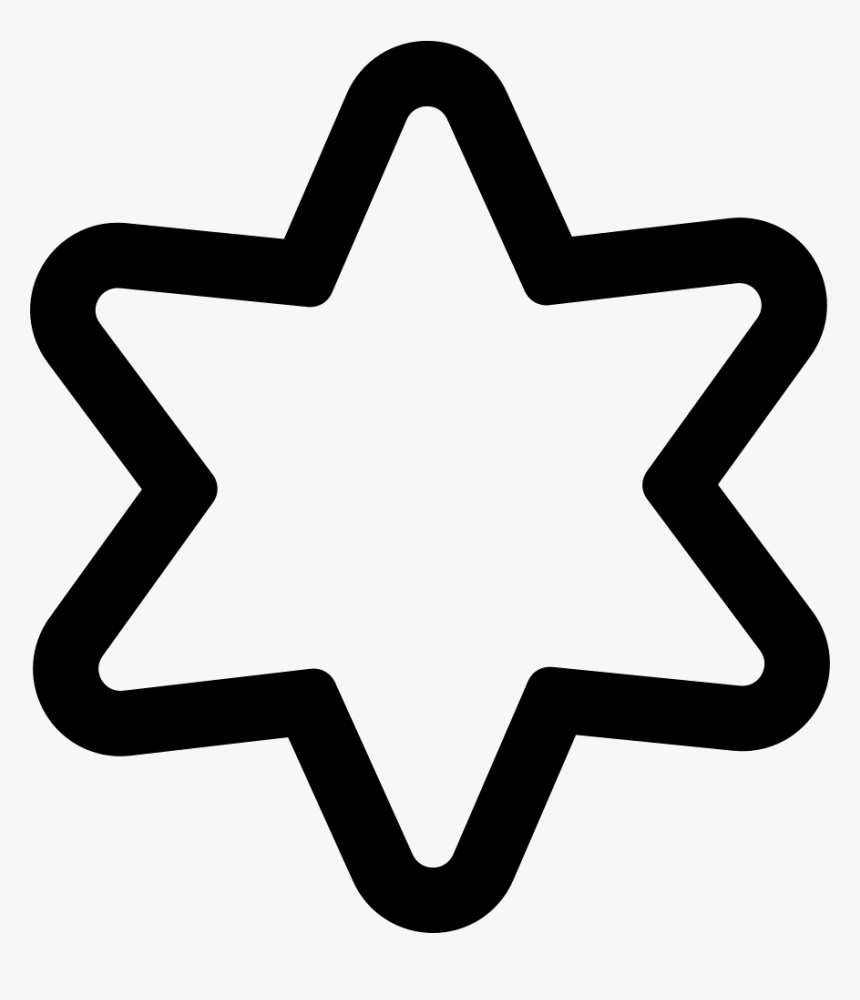 Star Of Six Points Outline - 6 Point Star Outline, HD Png Download, Free Download