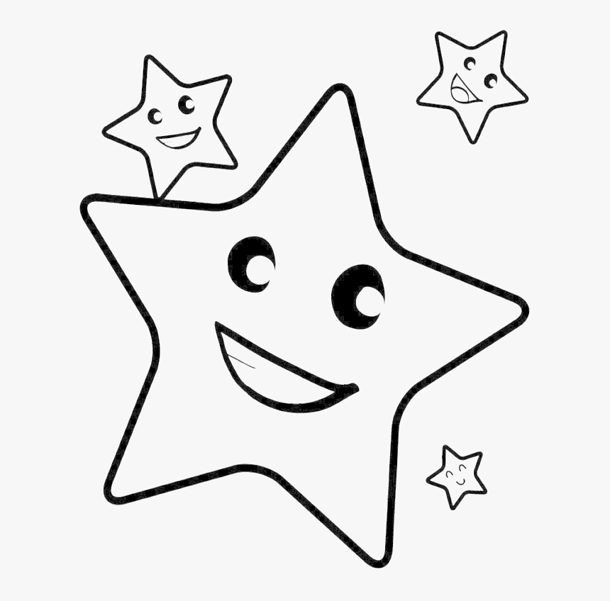 Christmas Star Coloring Pages - Smile Star Clipart Black And White, HD Png Download, Free Download