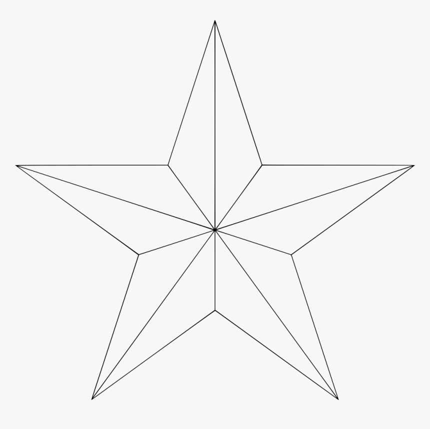 Nautical Star Outline , Png Download - Five Point Star Outline, Transparent Png, Free Download