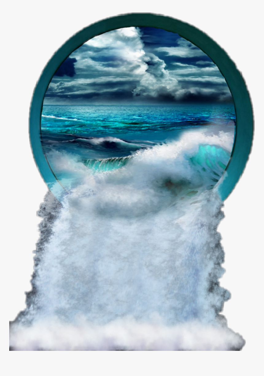 #waterfall #hole #portal #water #ocean #waves #blue - Sea, HD Png Download, Free Download