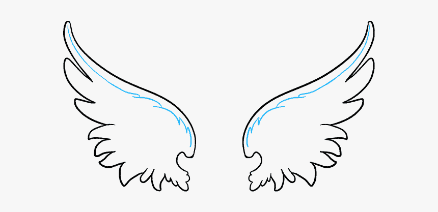 How To Draw Angel - Drawing Of Angel Wings, HD Png Download, Free Download