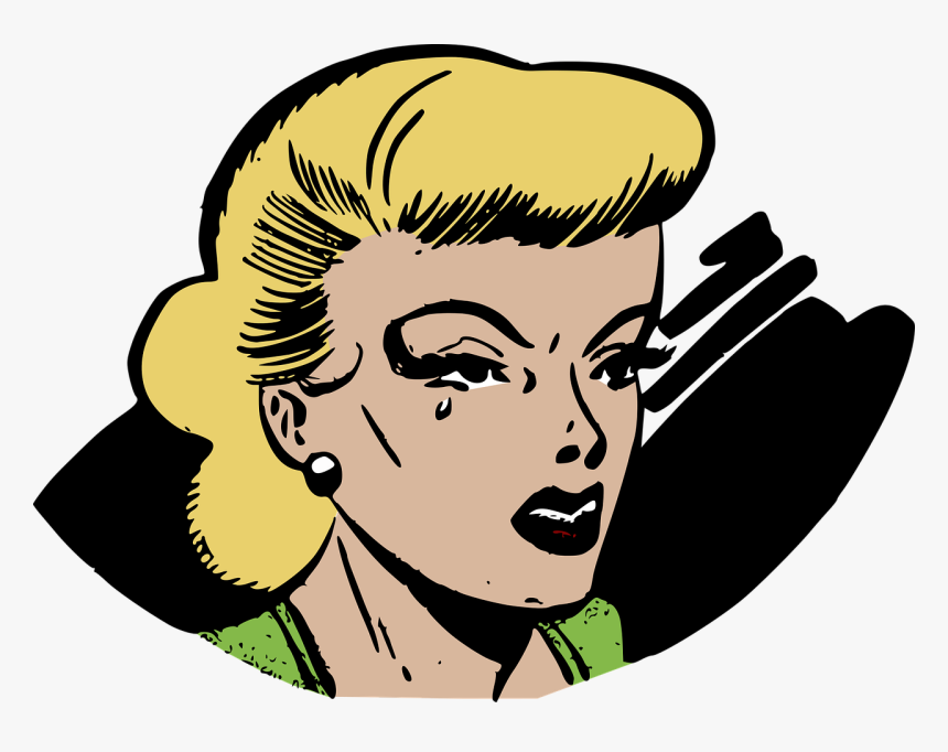 Cry, Crying, Emotion, Female, Retro, Sad, Sadness - Pop Art Comic Clipart, HD Png Download, Free Download