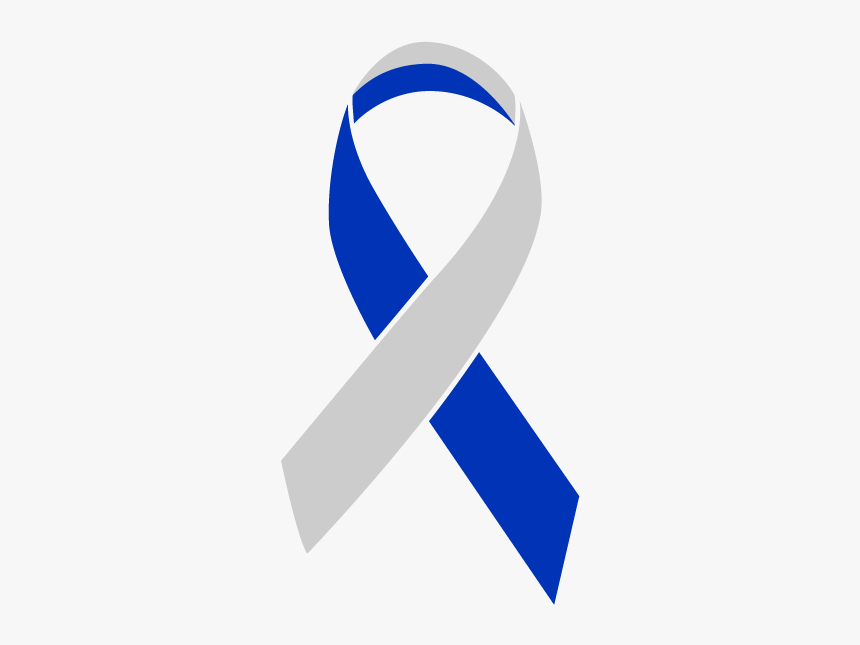 Blue And Silver Colored Living With Cancer Ribbon - Blue Silver Cancer Ribbon, HD Png Download, Free Download
