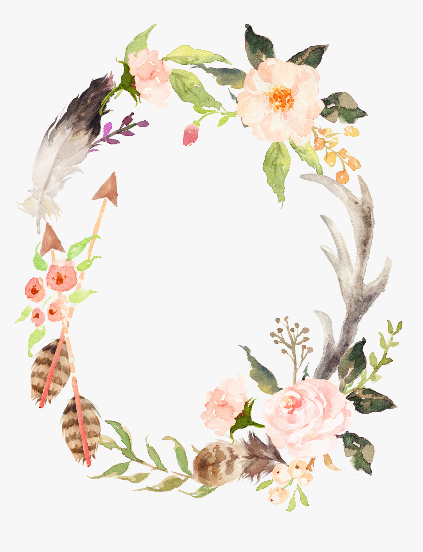 Wedding Invitation Wreath Watercolor Painting Poster - Wreath Flower Watercolor Png, Transparent Png, Free Download