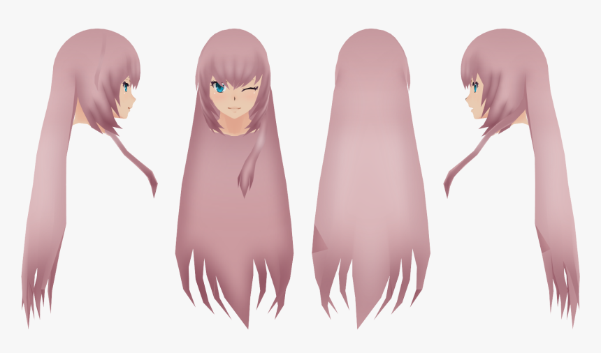 Anime Girl Long Hair Side View , Png Download - Anime Hair Female Front And Side, Transparent Png, Free Download