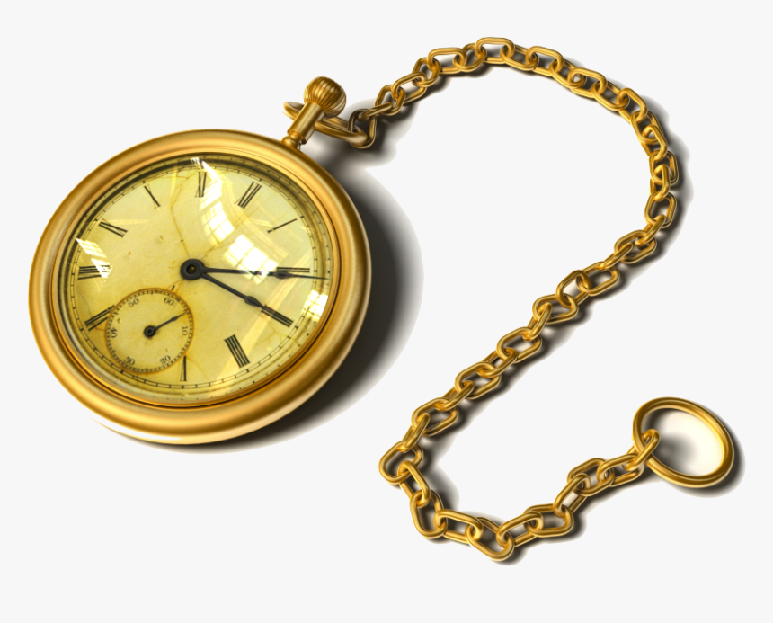 Pocket Watch Antique Clock - Gold Pocket Watch Drawing, HD Png Download, Free Download
