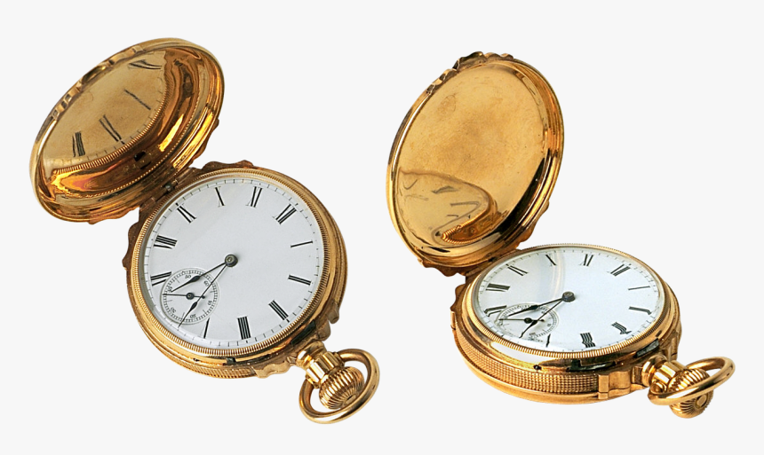 Clock Pocket Watch Gold Free Picture - Vintage Pocket Watch Transparent Background, HD Png Download, Free Download