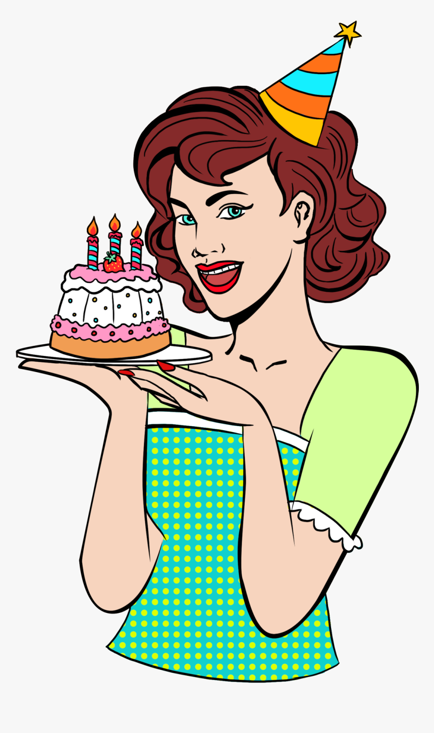 80s Retro Pop Style Hand Drawn Png And Psd - Mulher Aniversário Png, Transparent Png, Free Download
