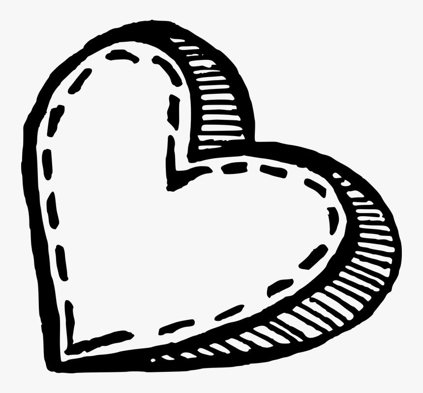 Heart, Handdrawn, Love, Sketch, Romantic, Valentine - Heart Sketch Transparent Png, Png Download, Free Download