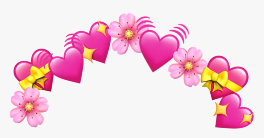 Crown Emoji Tumblr Heart Hearts Pink Png Pink Smiley - Heart Emoji Crown Png, Transparent Png, Free Download