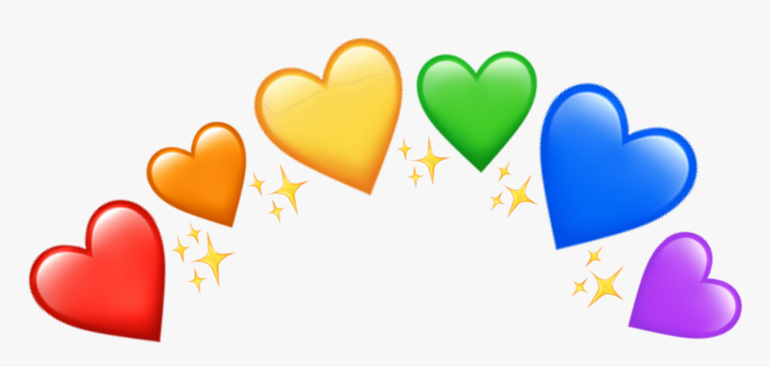 #crown #heartcrown #pride #rainbow #rainbowheart #glitter - Rainbow Heart Emoji Transparent, HD Png Download, Free Download