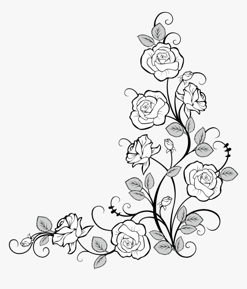 #frames #frame #corner #corners #borders #border #roses - Flower Border Drawing Transparent, HD Png Download, Free Download