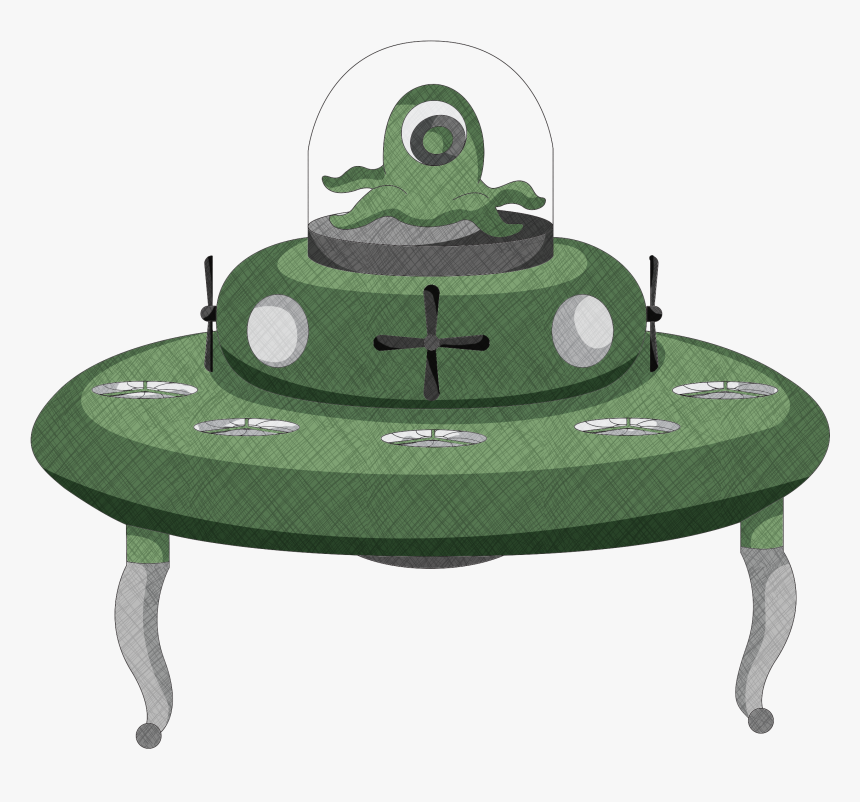 Alien Spaceship Art Drawing - Vector Graphics, HD Png Download, Free Download