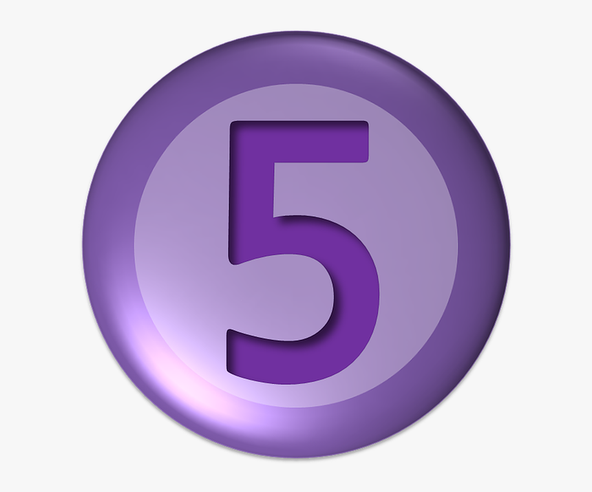 Numbers, Five, Ball, Button - Number 5 In Purple, HD Png Download, Free Download