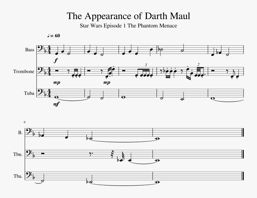 The Appearance Of Darth Maul Sheet Music 1 Of 1 Pages - Star Wars Darth Maul Theme Piano Sheet Music Free, HD Png Download, Free Download