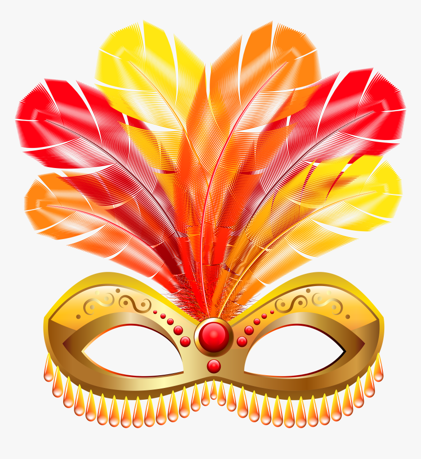 Gold Feather Carnival Mask Png Clip Art Image - Carnival Mask With Feathers Png, Transparent Png, Free Download