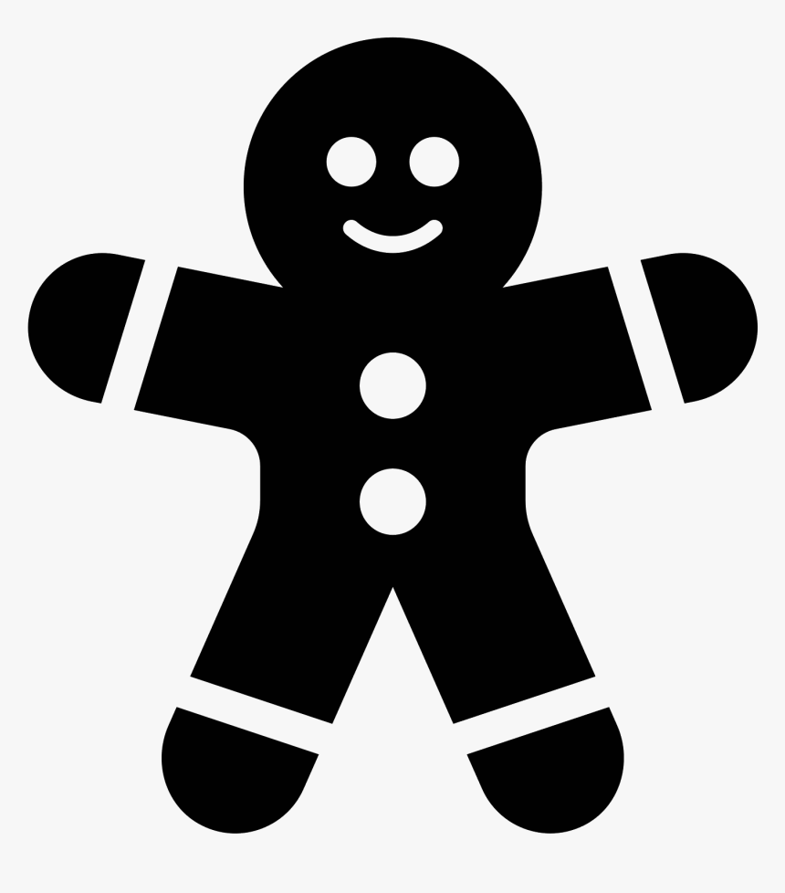 Transparent Gingerbread Man Png - Ginger Bread Black And White, Png Download, Free Download