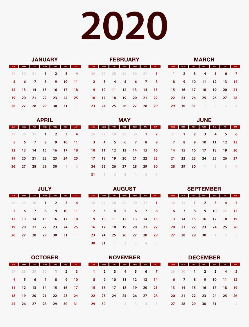 2020 Calendar Png Image, Transparent Png, Free Download