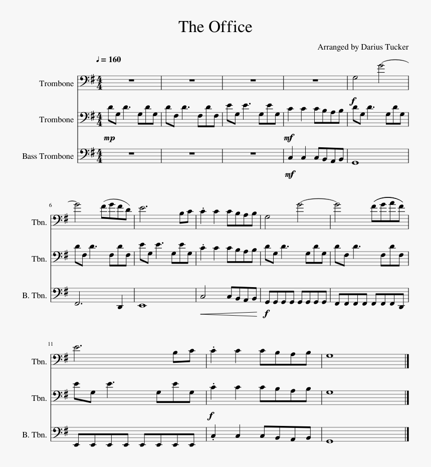 The Office Theme For Concert Band Sheet Music Download - High Hopes  Trombone Sheet Music, HD Png Download - kindpng