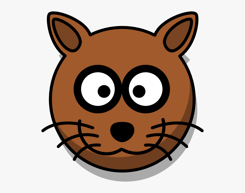 Brown Cat Head Cartoon - Cartoon Cat, HD Png Download, Free Download