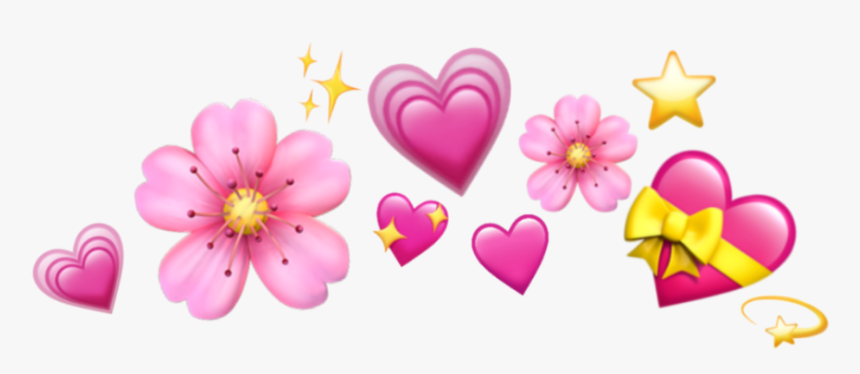#flowers #emoji #hearts #apple #stars #sparkle #cute - Heart Emoji Crown Transparent, HD Png Download, Free Download