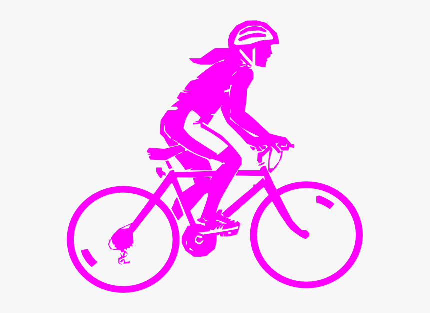 Female Pink Biker Svg Clip Arts - Cycling Black And White Clipart, HD Png Download, Free Download