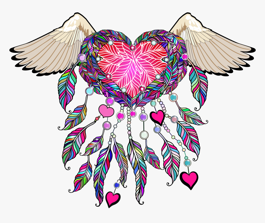 Feather Clipart Boho - Dream Catcher With Angel Wings Tattoo, HD Png Download, Free Download