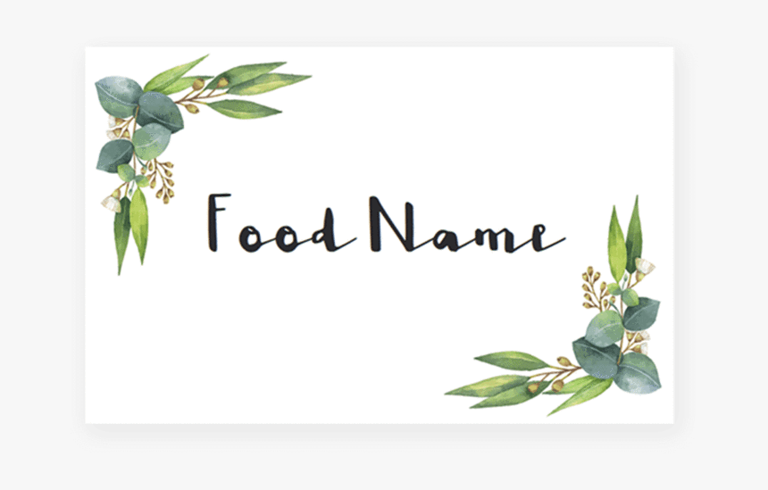 Greenery Baby Shower Food Cards Printable By Littlesizzle - Free Printable Food Cards, HD Png Download, Free Download
