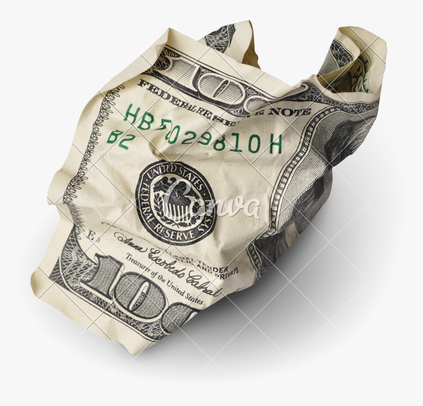 Transparent Money Stack Clipart - Crumpled 100 Dollar Bill, HD Png Download, Free Download