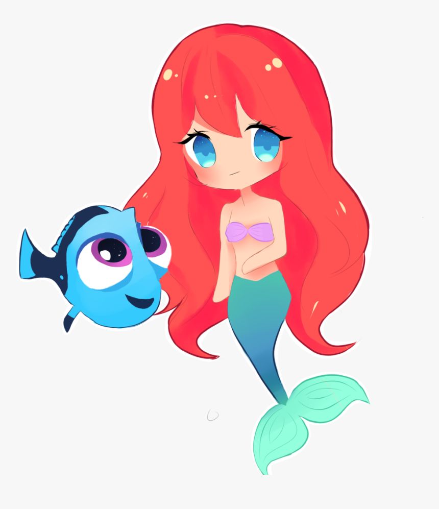 Chibi Dory - Cute Mermaid Anime Drawings, HD Png Download, Free Download