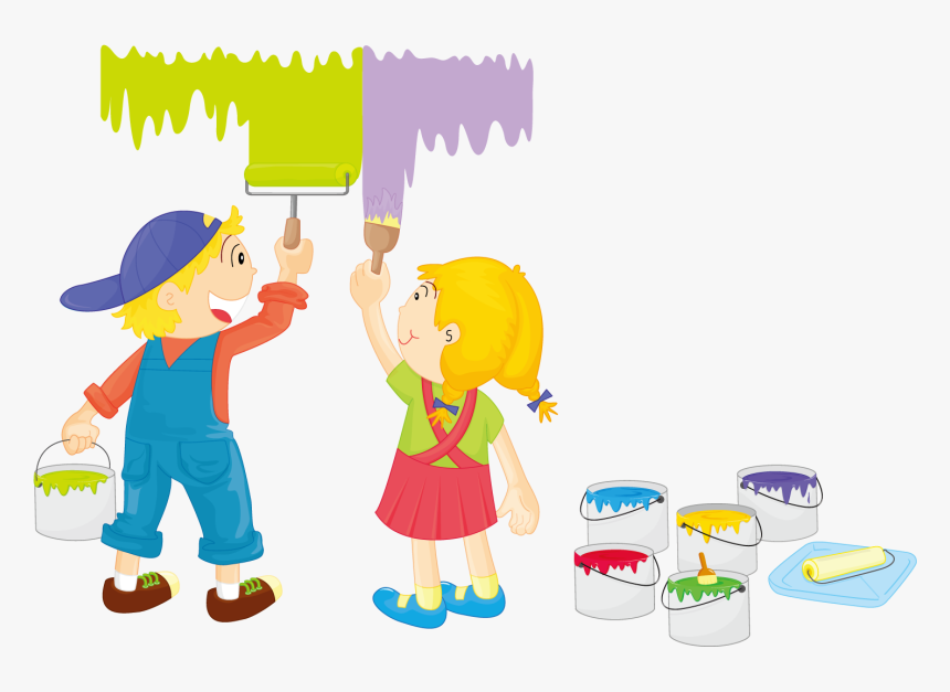 Illustration Painted Children Transprent - Kids Painting Clipart, HD Png Download, Free Download