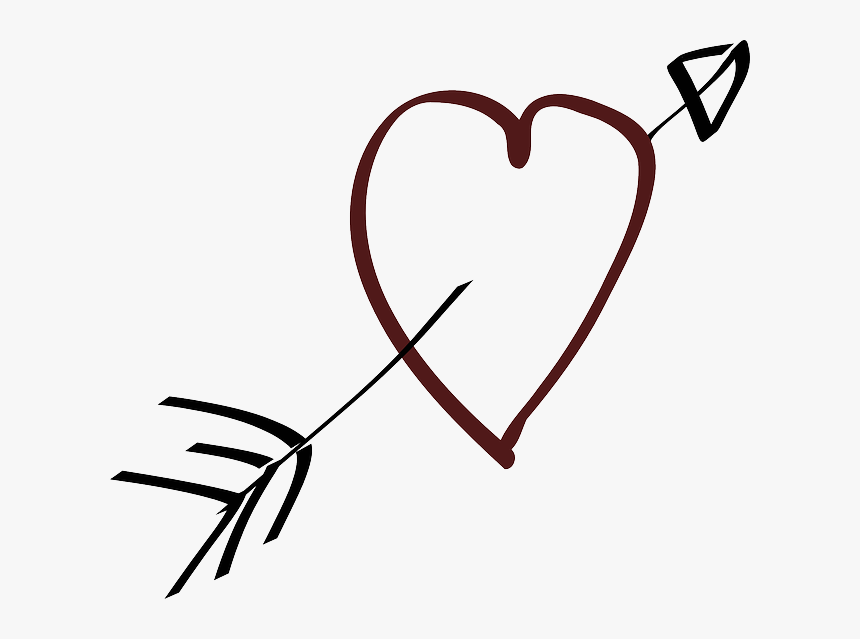 Love, Heart, Arrow, Stylistic, Hand Drawn - Heart With Arrow Clipart, HD Png Download, Free Download