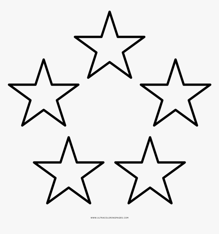 Five Stars Coloring Page Stars Template Hd Png Download Kindpng