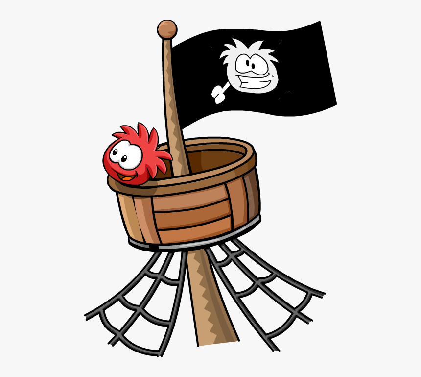 Image Red Puffle Crows - Cartoon Image Of A Crow's Nest, HD Png Download, Free Download