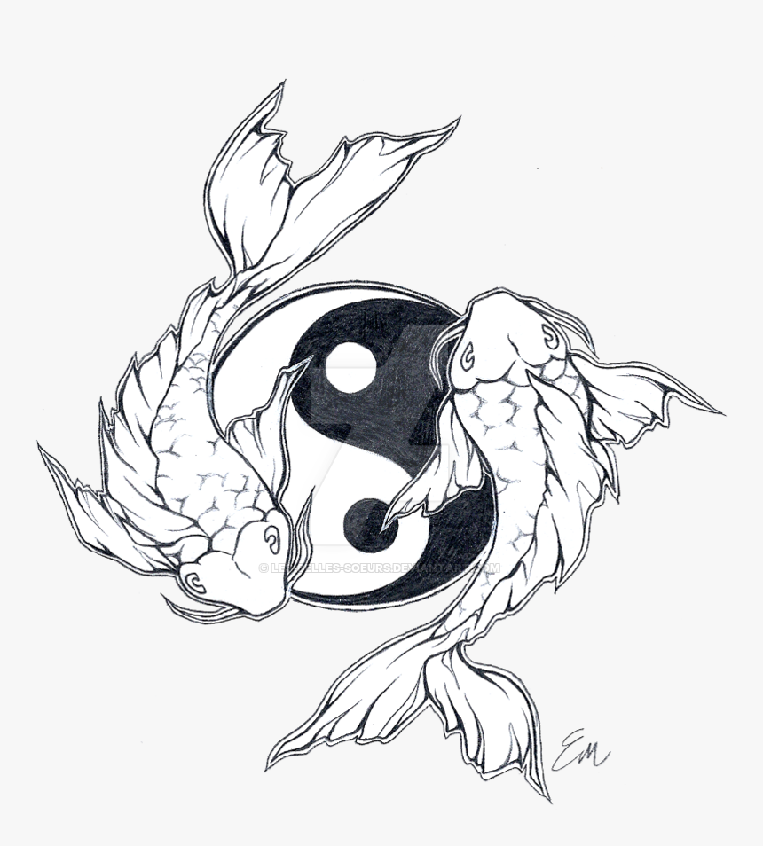 Double Drawing Koi Fish Simple Koi Fish Tattoo Designs Hd Png Download Kindpng