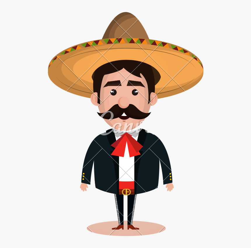Mexican Wearing Sombrero Character - Sombrero Mariachi Vector, HD Png Download, Free Download