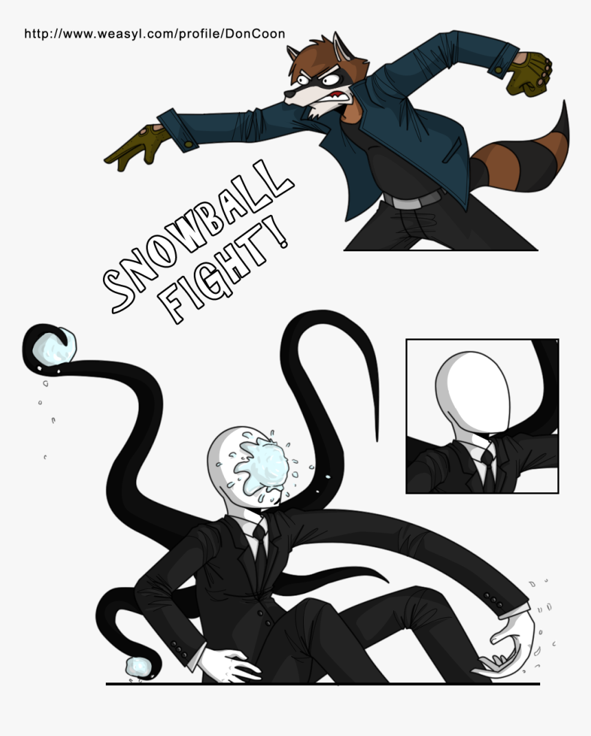 Slender Man Drawing Fighting, HD Png Download, Free Download