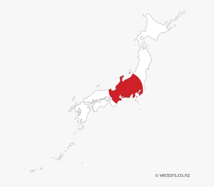 Flag Vector Map Of Japan - Transparent Background Japan Map With Flag, HD Png Download, Free Download