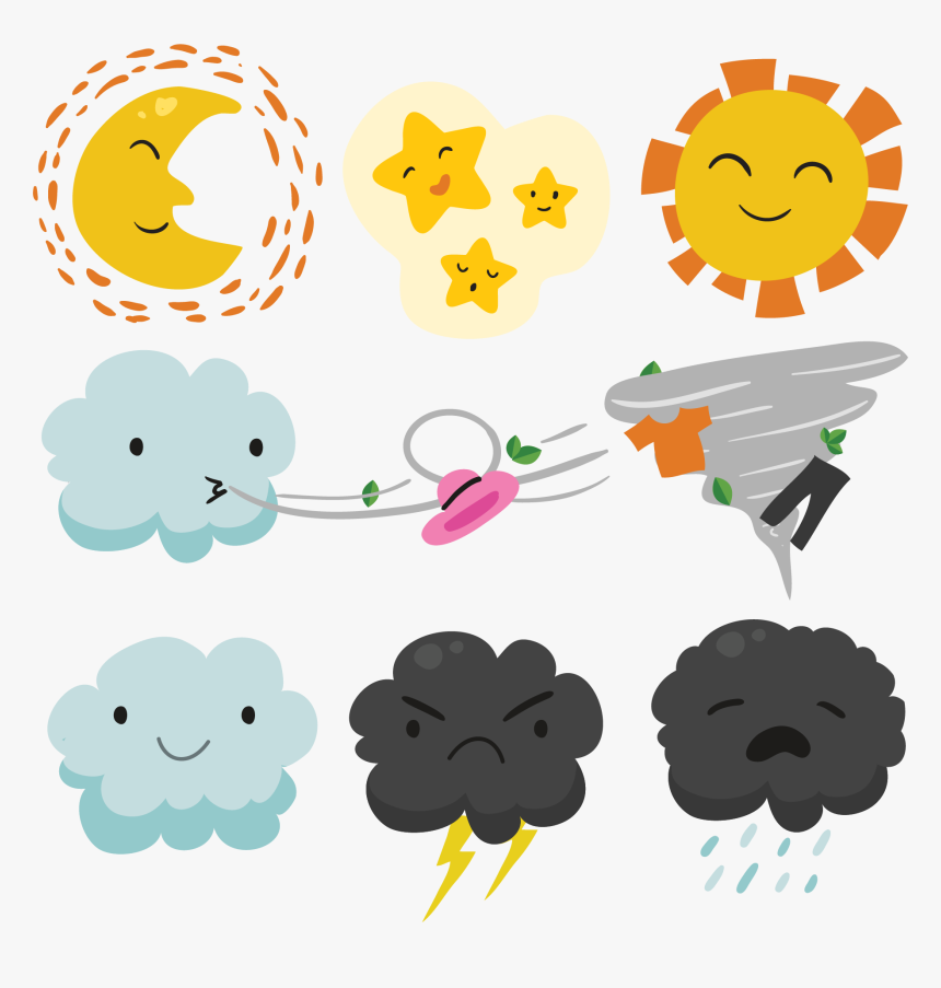 Transparent Windy Weather Clipart - Vector Cute Png Transparent, Png Download, Free Download