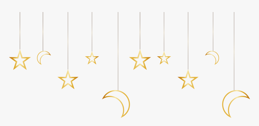 And Stars Gold Painted Pattern Material Moon Clipart - Flag, HD Png Download, Free Download