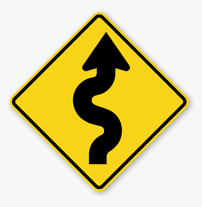 Narrow Road Signs - Winding Road Sign, HD Png Download, Free Download