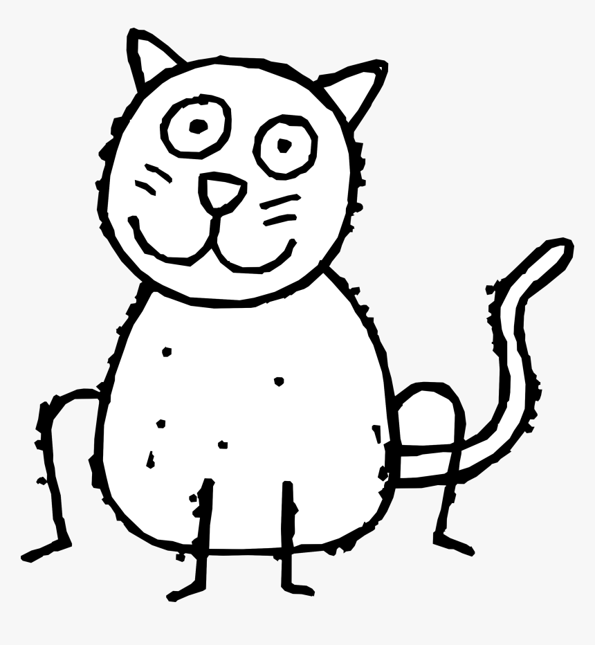 Transparent Kitty Face Png Cat Cartoon Black And White Png Download Kindpng